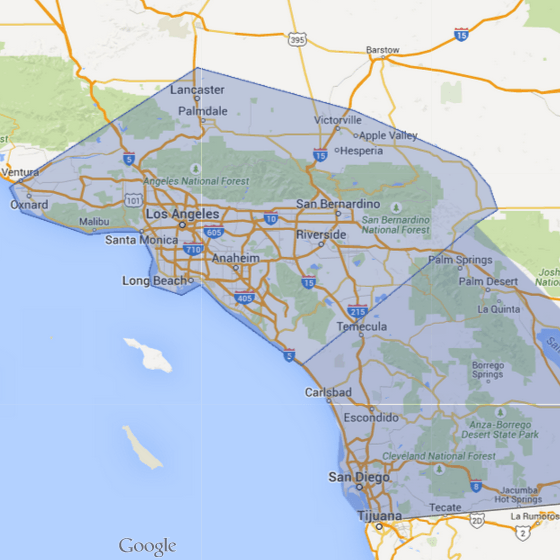 google map of los angeles orange county southern california ATM machine service area