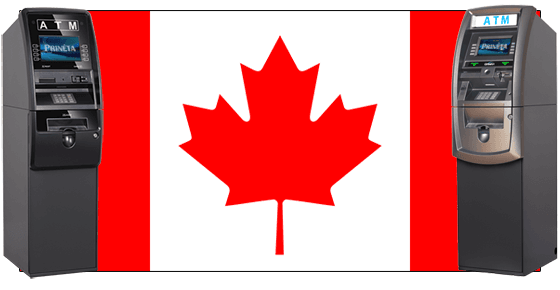 two genmega atm machines and canadian flag