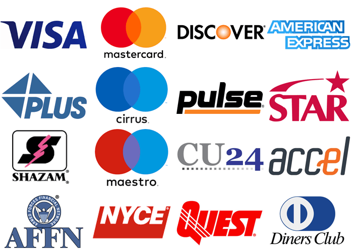 ATM Processing Network Logos Visa, Mastercard, Discover, American Express, AMEX, Plus, Cirrus, Pulse, Star, Shazam, Maestro, Credit Union 24, CU24, Accel, AFFN, Armed Forces Financial Network, NYCE, Quest, Diners Club