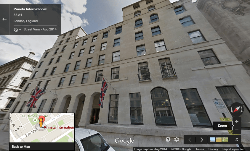 Prineta International Main Office in London - Google Street View Image