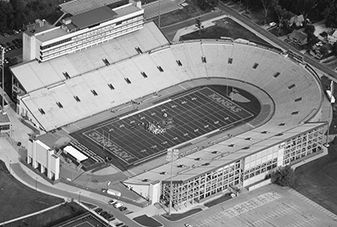 aerial view of kansas university KU football stadium