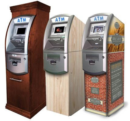 three atm machines with enclosures