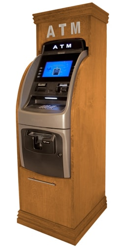 hyosung 2700 atm machine in wood cabinet with lettering