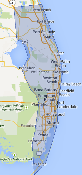 Miami - Fort Lauderdale - West Palm Beach South Florida ATM Machine Service Area Map