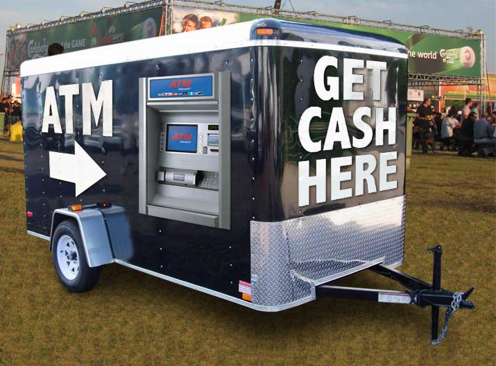 mobile atm trailer - trailer with atm machine mounted at a concert event
