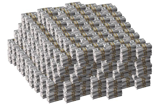giant stacks of cash pile of us dollars million dollars