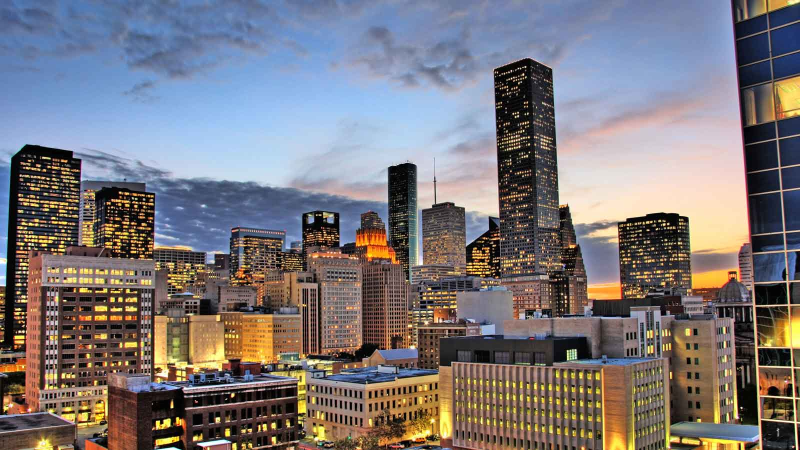 Skyline Cityscape photograph of Houston Texas Downtown at Dusk