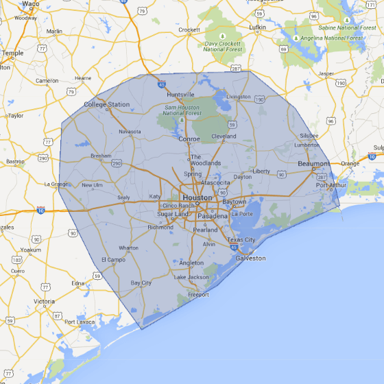 google road map image of houston texas area with blue service area polygon