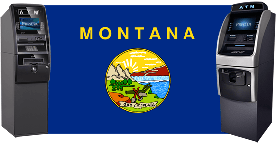 montana state flag with two ATM machines