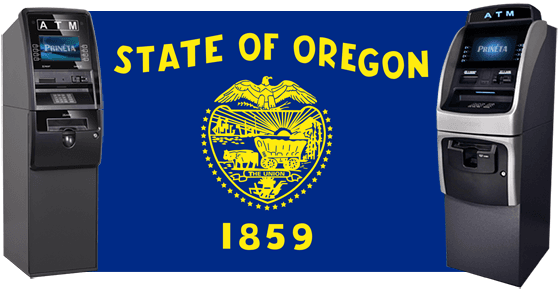 state of oregon flag with two atm machines