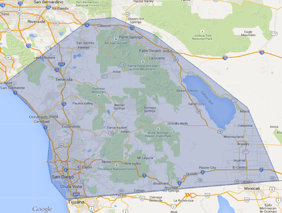 google map screenshot of san diego southern california area with blue service area polygon