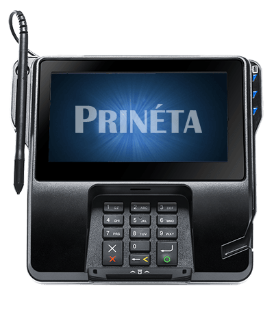 verifone mx925 credit card processing machine front with Prineta logo on screen