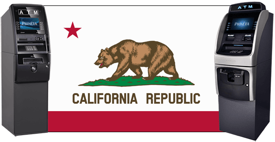 california flag with two atm machines
