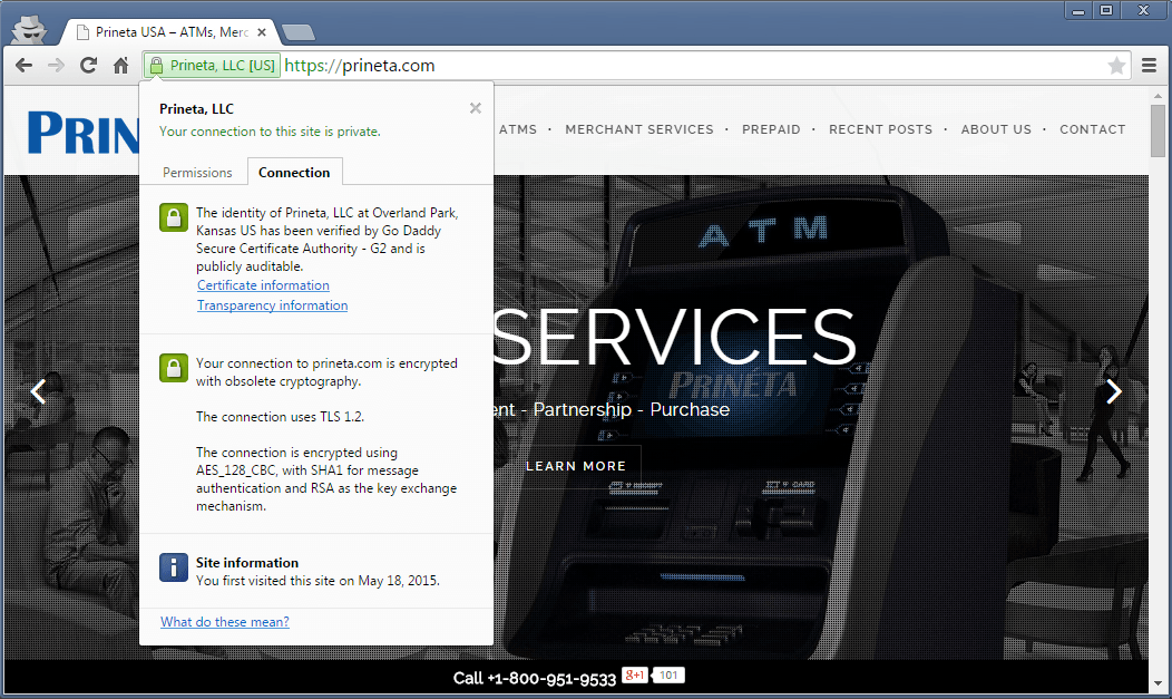screenshot from prineta.com website showing HTTPS SSL certificate information from godaddy google chrome browser