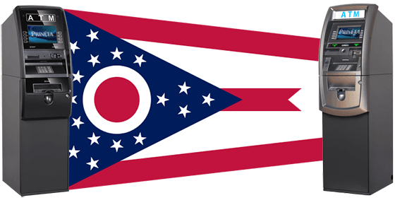 Ohio State Flag with Two GenMega ATM Machines