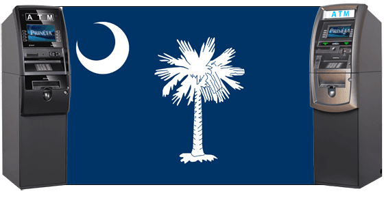 south carolina state flag with two genmega atm machines