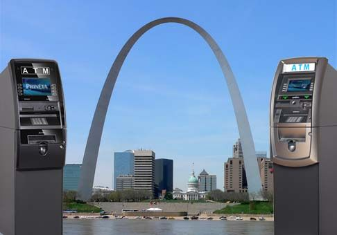 st louis arch with two atm machines