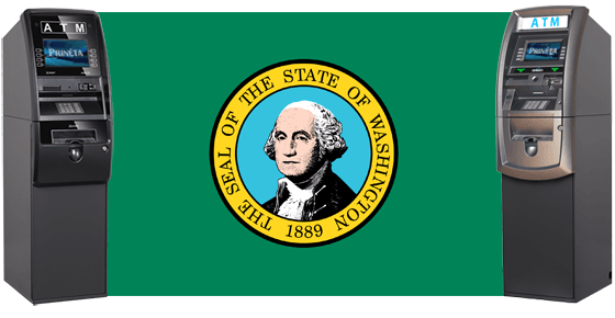 washington state flag with two atm automated teller machines