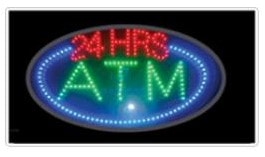24 hours 24 hrs atm window led animated window sign oval shaped