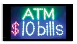 atm $10 bills 10 dollar animated led window sign