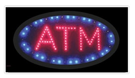 oval shaped atm led animated window sign blue red