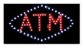 diamond shaped atm led animated window sign blue red