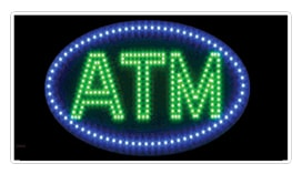 oval-shaped atm led animated window sign blue green