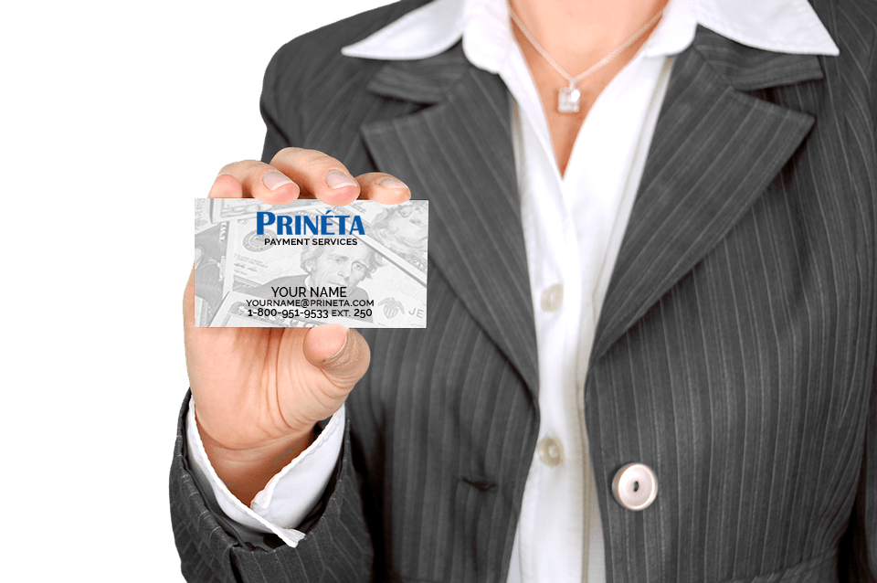 businesswoman holding a prineta business card your name here