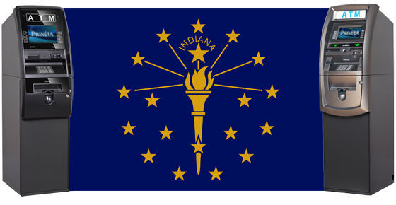 Indiana Flag with atm machines