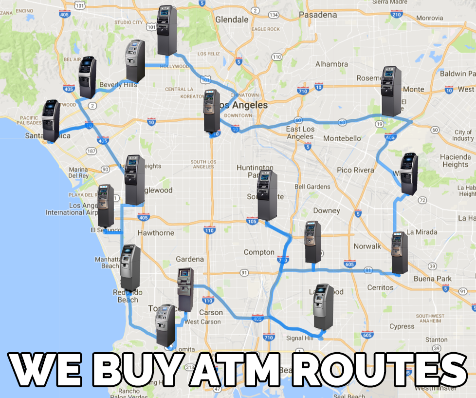 Map of ATM machine route portfolio