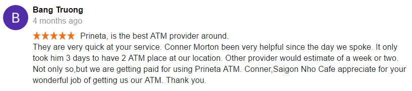 Screenshot of prineta atm placement google review