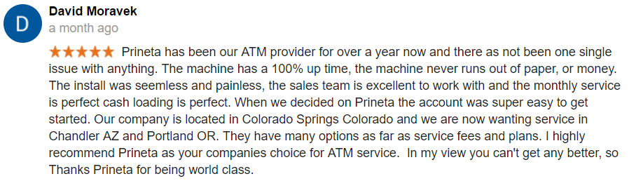 David Moravek ATM Placement Google Review Screenshot