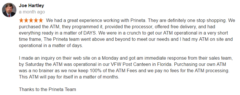 Screenshot from Prineta ATM Purchase Google Review