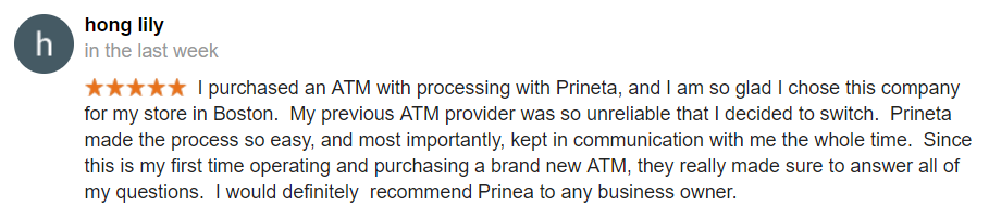 atm purchase google review screenshot