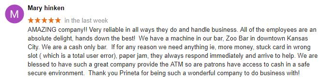 Mary Hinken ATM Google Review