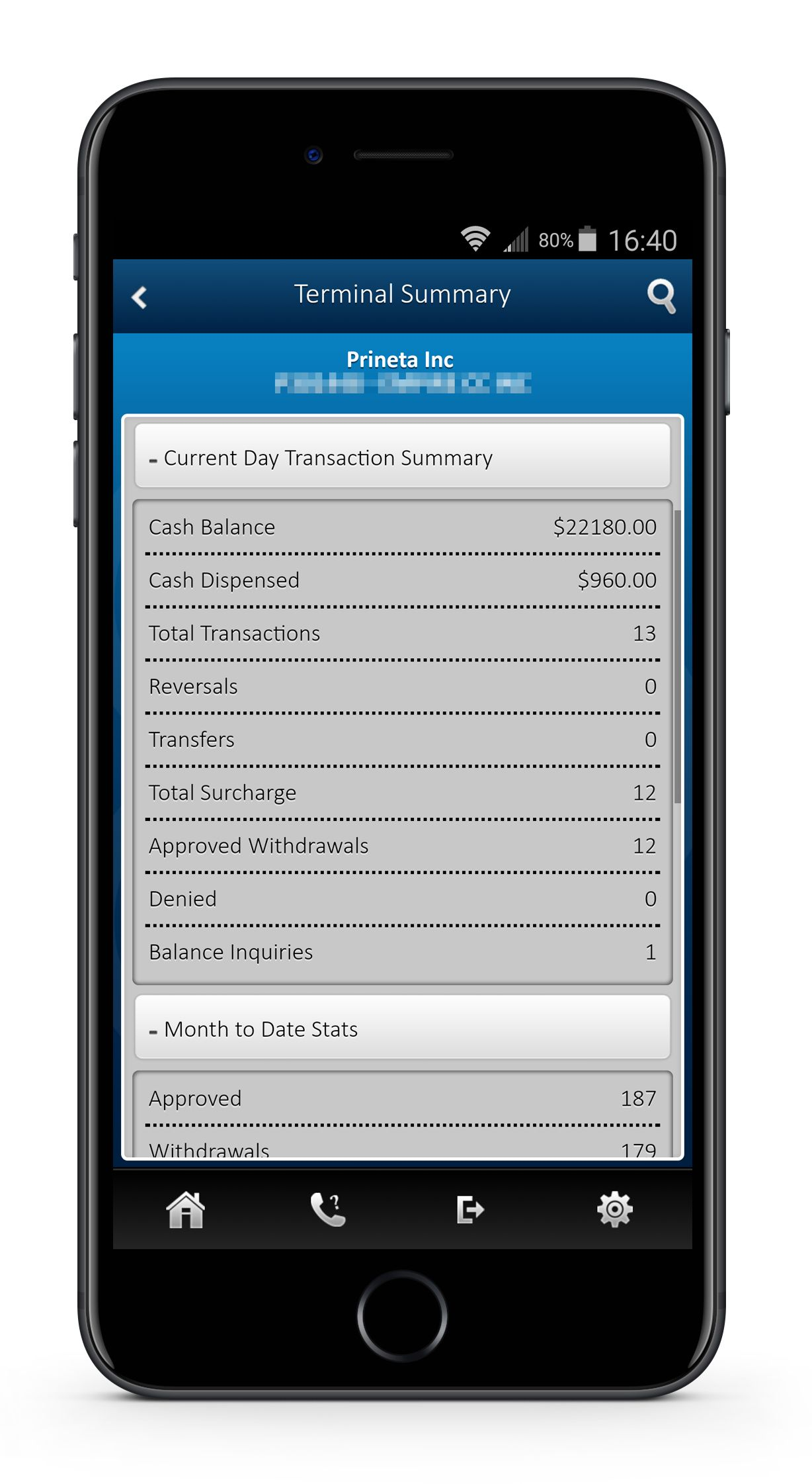 iPhone with ATM transaction reporting