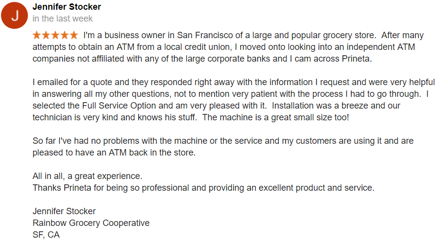 Rainbow Grocery San Francisco California Google Review Screenshot