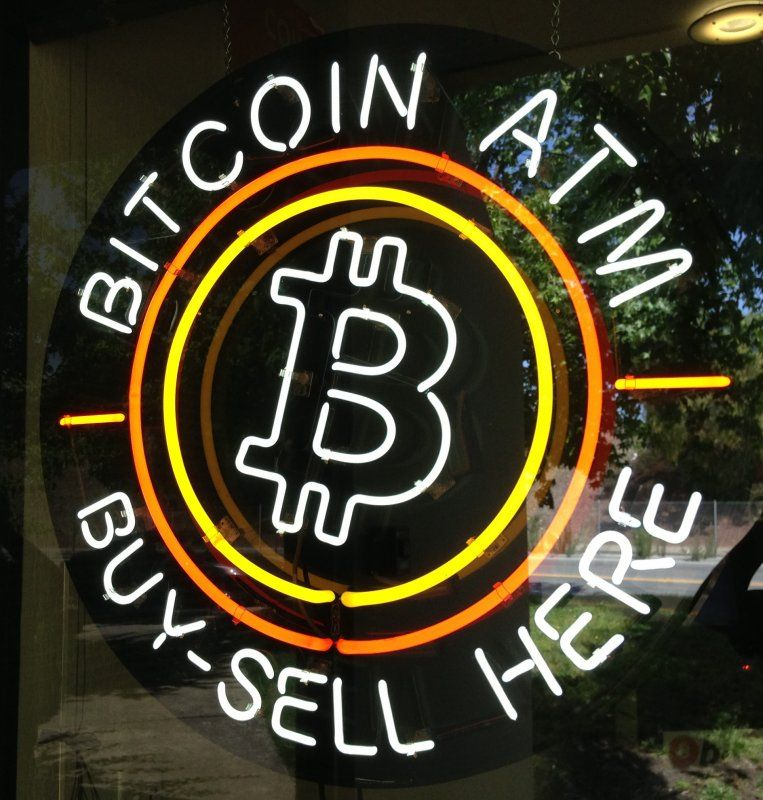 Neon Bitcoin ATM Window Sign Buy Sell Bitcoin Here