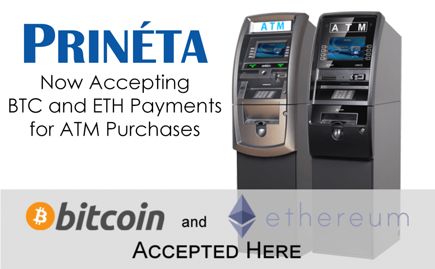Now Accepting Bitcoin and Ethereum Payment for ATM