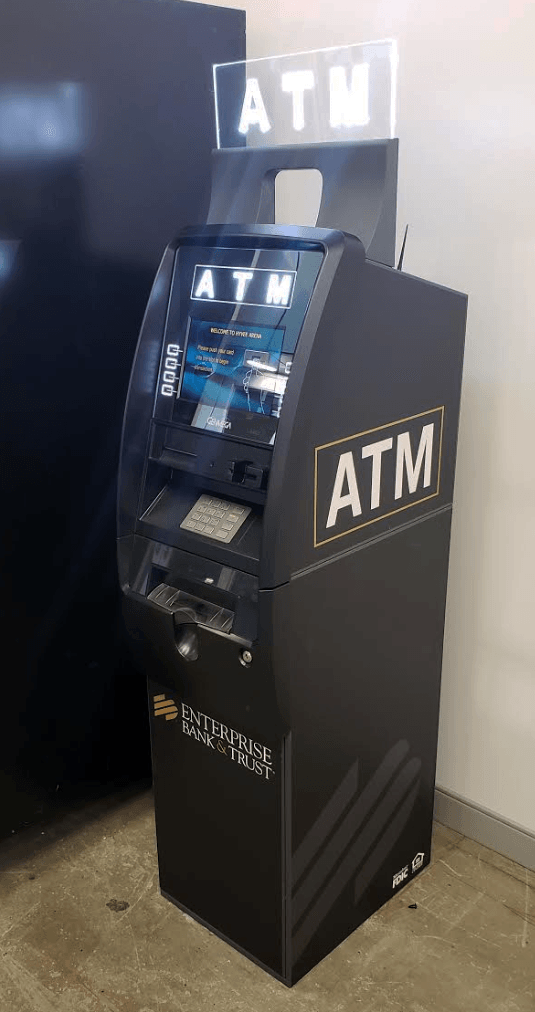 GenMega Onyx ATM with Enterprise Bank Vinyl Wrap and Branding