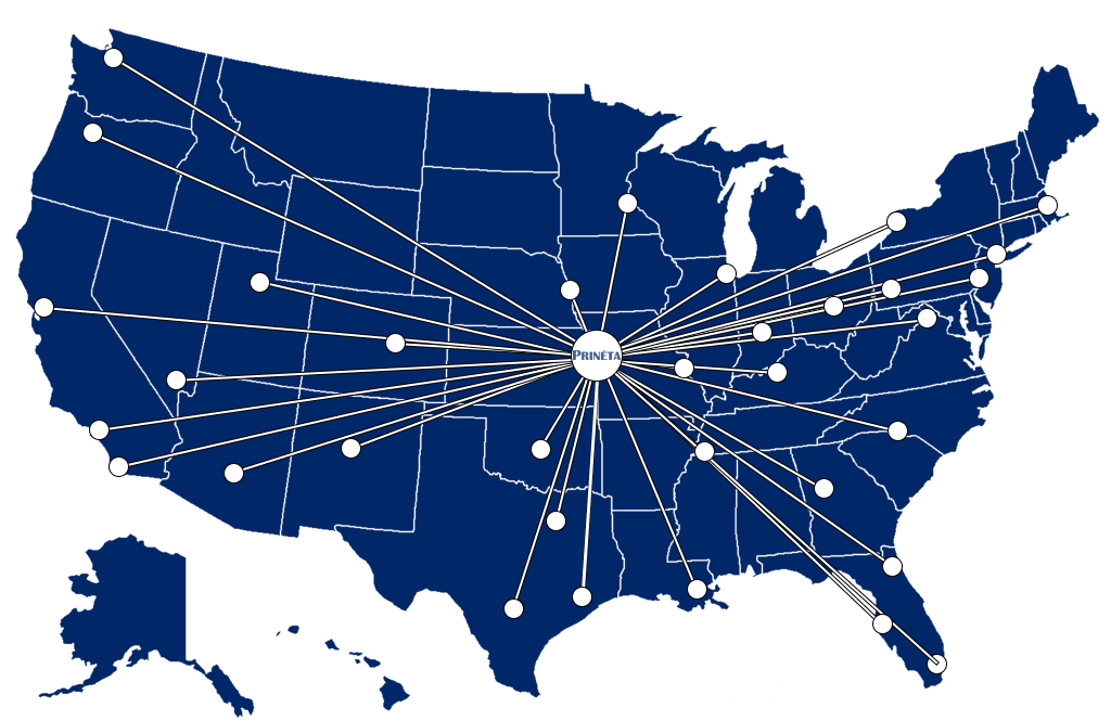 Map of the United States showing lines from Kansas City to other major US Cities